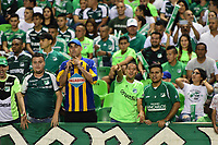 PALMIRA - COLOMBIA, 26-05-2019: Hinchas del Cali animan a su equipo durante partido entre Deportivo Cali y Atlético Nacional por la fecha 4, cuadrangulares semifinales, de la Liga Águila I 2019 jugado en el estadio Deportivo Cali de la ciudad de Palmira. / Fans of Cali cheer for their team during match for the date 4, semifinal quadrangulars,, as part Aguila League I 2019 between Deportivo Cali and Atletico Nacional at Deportivo Cali stadium in Palmira city.  Photo: VizzorImage / Nelson Rios / Cont