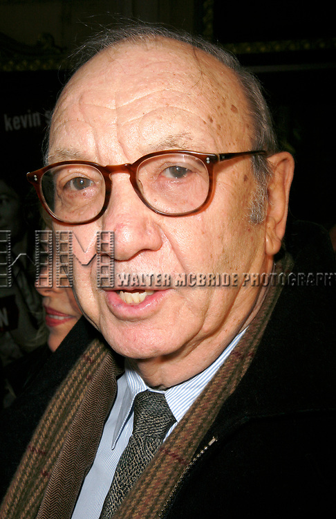 Neil Simon arriving for the Opening Night Performance of Eugene O'Neill's A MOON FOR THE MISBEGOTTEN at the Brooks Atkinson Theatre in New York City.<br />April 9, 2007
