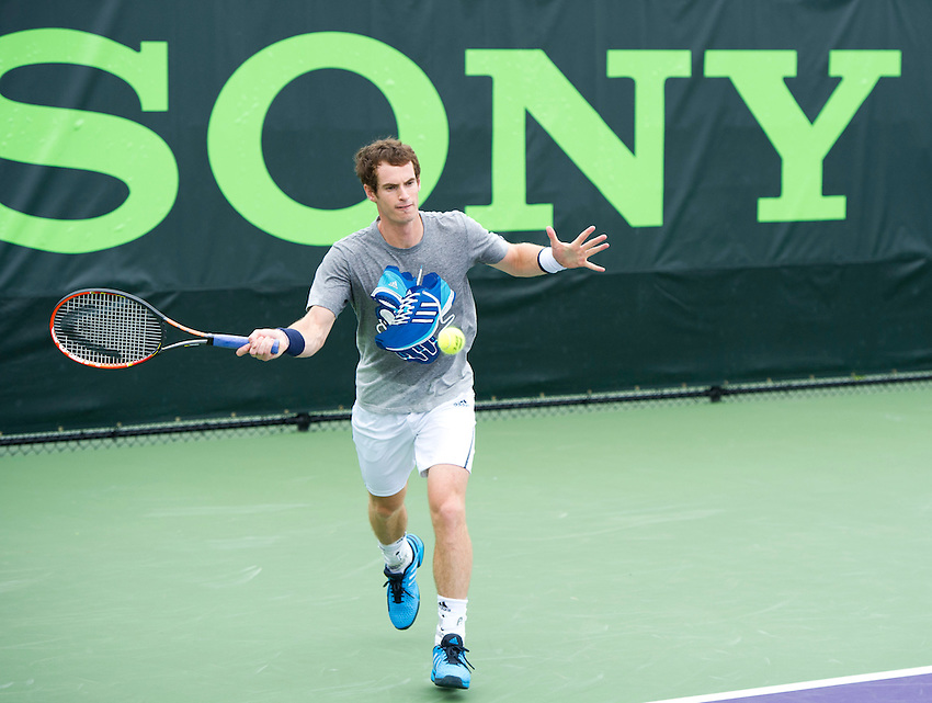 Andy Murray (GBR) practices for his First round match<br /> <br /> Photographer Andrew Patron<br /> <br /> Tennis - Sony Open Tennis - ATP World Tour Masters 1000 - Day 2 - Tuesday 18th March 2014 - Tennis Center at Crandon Park Key Biscayne, Miami, Florida USA<br /> <br /> &copy; CameraSport - 43 Linden Ave. Countesthorpe. Leicester. England. LE8 5PG - Tel: +44 (0) 116 277 4147 - admin@camerasport.com - www.camerasport.com