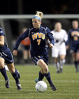 "West Virginia forward Megan Mischler (7) dribbles. Boston College defeated West Virginia, 4-0, in NCAA tournament ""Sweet 16"" match at Newton Soccer Field, Newton, MA."