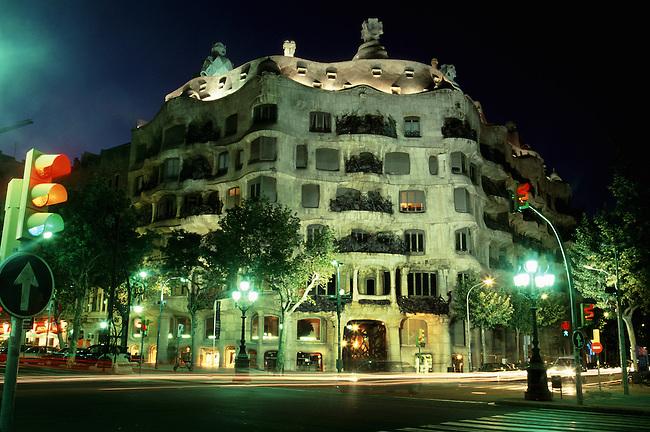 Guadi's Casa Mila, La Pedera, Barcelona Spain at night, time exposure