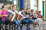 Music on every corner in Cahersiveen with a busking competition pictured here outside Mike Murts Bar were l-r; Katie Pierce O'Shea, Caroline Moriarty, Edel O'Connor, Lauren O'Sullivan, Patricia O'Sullivan, Brona O'Sullivan & Gemma Musgrave.