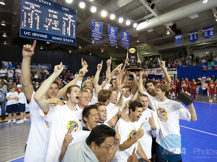 09 MAY 2009:  Members of the Men's Volleyball team from the University of California, Irvine receive the National Championship trophy after defeating the University of Southern California in the finals of the NCAA Division 1 Men's Volleyball Championships  at the Smith Fieldhouse on the campus of Brigham Young University in Provo, UT.  UCI defeated USC 3-2 to win the national title.  Jaren Wilkey/NCAA Photos