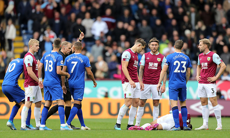 Everton's Seamus Coleman is is shown a second yellow card by referee Graham Scott for his foul on Burnley's Dwight McNeil (grounded)<br /> <br /> Photographer Rich Linley/CameraSport<br /> <br /> The Premier League - Burnley v Everton - Saturday 5th October 2019 - Turf Moor - Burnley<br /> <br /> World Copyright © 2019 CameraSport. All rights reserved. 43 Linden Ave. Countesthorpe. Leicester. England. LE8 5PG - Tel: +44 (0) 116 277 4147 - admin@camerasport.com - www.camerasport.com