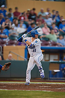 Cam Gallagher (46) of the Omaha Storm Chasers bats against the Round Rock Express at Werner Park on May 27, 2018 in Papillion , Nebraska. Round Rock defeated Omaha 8-3. (Stephen Smith/Four Seam Images)