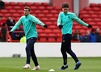 Blackburn Rovers' Joe Rothwell (left) & Richard Smallwood during the pre-match warm-up <br /> <br /> Photographer David Shipman/CameraSport<br /> <br /> The EFL Sky Bet Championship - Nottingham Forest v Blackburn Rovers - Saturday 13th April 2019 - The City Ground - Nottingham<br /> <br /> World Copyright © 2019 CameraSport. All rights reserved. 43 Linden Ave. Countesthorpe. Leicester. England. LE8 5PG - Tel: +44 (0) 116 277 4147 - admin@camerasport.com - www.camerasport.com