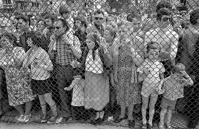 ROMANIA, Vitan Av., Bucharest, 05.1978.Citizens watching a dog show at Olimpia stadium from behind a steel fence..© Andrei Pandele / EST&OST