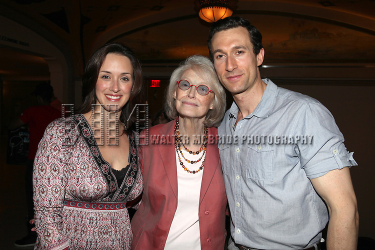 Aaron Lazar & wife Leann with Margaret Styne.attending the reception for the final performance of the New York City Center ENCORES! Production of 'Gentlemen Prefers Blondes' at City Center in New York City on 5/13/2012.