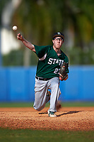 Farmingdale Rams relief pitcher Ryan O'Connor (27) delivers a pitch during a game against the Union Dutchmen on February 21, 2016 at Chain of Lakes Stadium in Winter Haven, Florida.  Farmingdale defeated Union 17-5.  (Mike Janes/Four Seam Images)