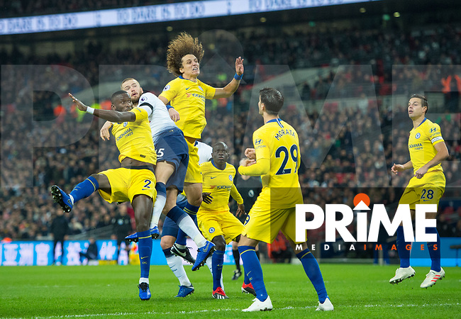 Tottenham's Eric Dier and Chelsea's David Luiz during the Premier League match between Tottenham Hotspur and Chelsea at Wembley Stadium, London, England on 24 November 2018. Photo by Andrew Aleksiejczuk / PRiME Media Images.