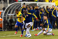 Lucas (17) of Brazil battles for the ball with Pablo Armero (7) of Colombia. Brazil (BRA) and Colombia (COL) played to a 1-1 tie during international friendly at MetLife Stadium in East Rutherford, NJ, on November 14, 2012.
