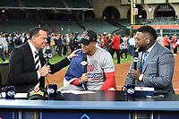 HOUSTON - OCTOBER 30: Alex Rodriguez, and David Ortiz talk with Juan Soto following World Series Game 7: Washington Nationals at Houston Astros on Fox Sports at Minute Maid Park on October 30, 2019 in Houston, Texas. (Photo by Frank Micelotta/Fox Sports/PictureGroup)