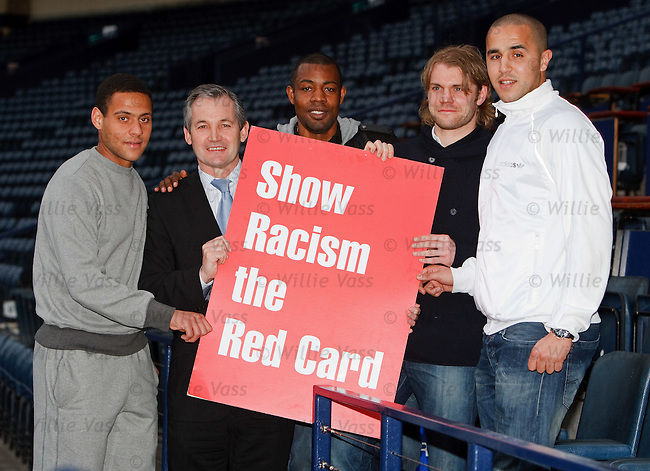 Ben Hutchison, George Burley, Simon Ford , Robbie Neilson and Madjid Bougherra at Hampden for an anti-racism message