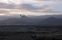 Aeroplane flying into Reina Sofia airport, Tenerife, Canary Islands.