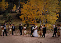 Wedding party formals outdoors.