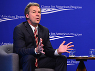 "Washington, DC - June 5, 2018: Montana Governor Steve Bullock participates in a discussion, moderated by Neera Tanden, on ""Money in Politics"" at the Center for American Progess in Washington, D.C. June 5, 2018.  (Photo by Don Baxter/Media Images International)"