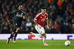 Daniel Sturridge of Liverpool chases Marcos Rojo of Manchester United during the UEFA Europa League match at Old Trafford. Photo credit should read: Philip Oldham/Sportimage
