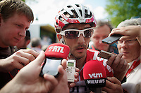 coming in a strong 6th Jelle Vanendert (BEL/Lotto-Belisol) surrounded by national press as 1st belgian to cross the finish line<br /> <br /> La Flèche Wallonne 2014