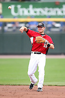 May 2, 2010:  Second Baseman Luke Hughes (18) of the Rochester Red Wings throws to first during a game vs. the Durham Bulls at Frontier Field in Rochester, NY.  Rochester defeated Durham in extra innings by the score of 7-6.  Photo By Mike Janes/Four Seam Images