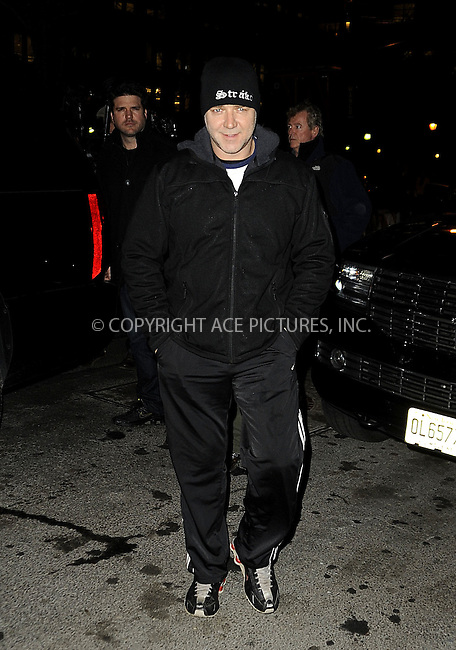 WWW.ACEPIXS.COM....December 3 2012, New York City....Actor Russell Crowe arriving at a downtown hotel on December 3 2012 in New York City......By Line: Curtis Means/ACE Pictures......ACE Pictures, Inc...tel: 646 769 0430..Email: info@acepixs.com..www.acepixs.com