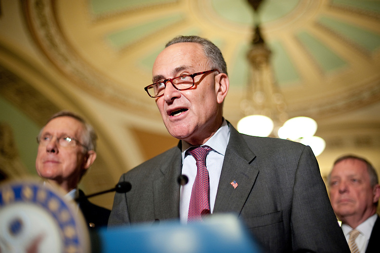 UNITED STATES - JUNE 23: From left, Senate Majority Leader Harry Reid, D-Nev., Sen. Charles Schumer, D-N.Y., and Sen. Richard Durbin, D-Ill., speak to reporters following a Senate Democrats' caucus meeting about Republicans leaving the debt talks on Thursday, June 23, 2011. (Photo By Bill Clark/Roll Call)
