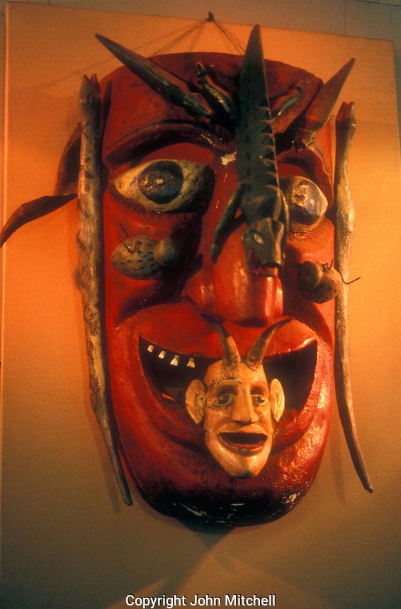 Grotesque Mexican devil mask, Museo Nacional de la Mascara or National Museum of the Mask in SanLuis Potosi, Mexico