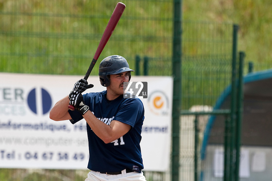 23 May 2009: Tim Stewart of Savigny is seen at bat during the 2009 challenge de France, a tournament with the best French baseball teams - all eight elite league clubs - to determine a spot in the European Cup next year, at Montpellier, France. Savigny wins 4-1 over Senart.