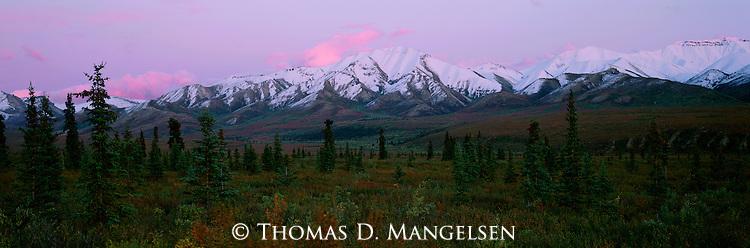 Sunset above the mountains near Igloo Creek in Denali National Park, Alaska.