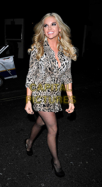 "KAYLA COLLINS.The ""Jersey Shore"" launch party at Mahiki, London, England..February 8th, 2011.full length beige brown leopard print animal black shoes smiling dress fishnet tights shirt .CAP/CAN.©Can Nguyen/Capital Pictures."