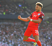 June 10th 2017, Hampden park, Glasgow, Scotland; World Cup 2018 Qualifying football, Scotland versus England; Alex Oxlade-Chamberlain celebrates his goal in the 70th minute for 0-1
