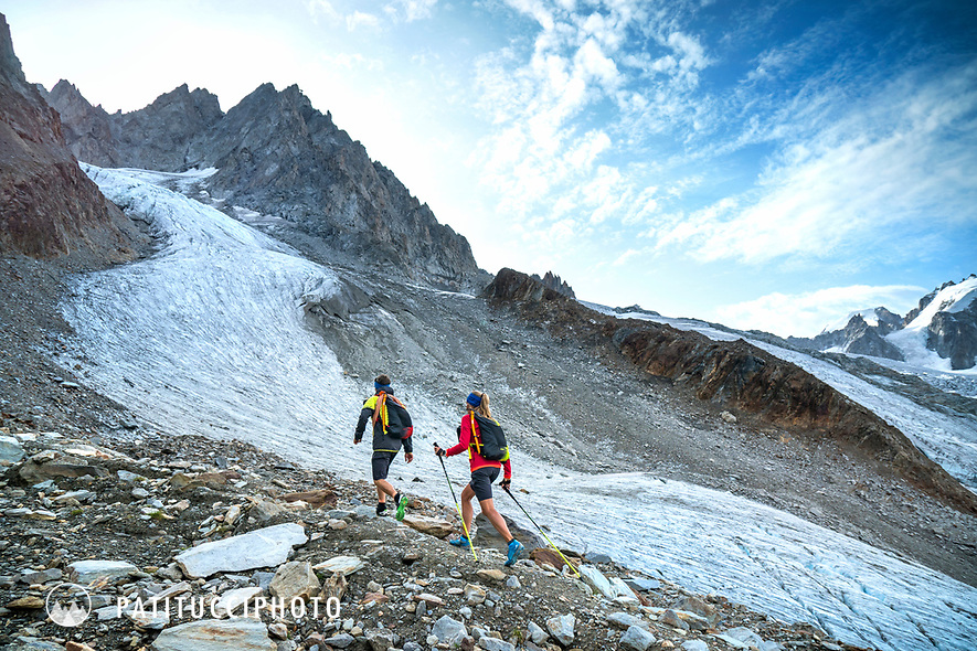 The Chamonix to Zermatt Glacier Haute Route. In late August 2017, we ran the tour in mountain running gear, running shoes, and all the necessary glacier travel and crevasse rescue gear. Hiking up the moraine along the Glacier du Tour on day 1.