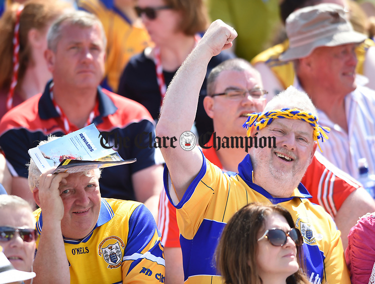 Clare fans at half time during their Munster senior hurling final at Thurles. Photograph by John Kelly.