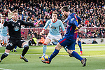 Lionel Messi of FC Barcelona (R) attempts a kick while being defended by Goalkeeper Ruben Blanco Veiga of RC Celta de Vigo (L) during the La Liga 2017-18 match between FC Barcelona and RC Celta de Vigo at Camp Nou Stadium on 02 December 2017 in Barcelona, Spain. Photo by Vicens Gimenez / Power Sport Images