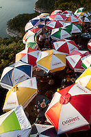 Colorful umbrellas shade Lake Travis Restaurant