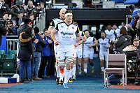 Francois Louw of Bath Rugby leads his team out onto the field. Aviva Premiership match, between Saracens and Bath Rugby on January 30, 2016 at Allianz Park in London, England. Photo by: Patrick Khachfe / Onside Images