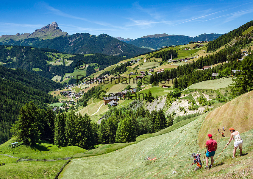 Italy, South Tyrol (Trentino - Alto Adige), La Valle: with its many hamlets, at background summit Sass Rigais at Puez-Geisler Nature Park (Parco naturale Puez Odle), mountain farmers haymaking | Italien, Suedtirol (Trentino - Alto Adige), Wengen: mit seinen vielen Weilern, im Hintergrund der Gipfel Sass Rigais im Naturpark Puez-Geisler, Bergbauern beim Heu einholen