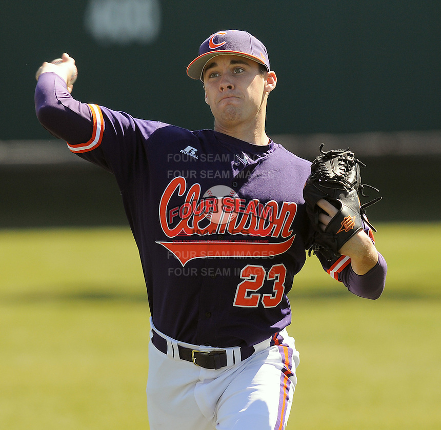 RHP Justin Sarratt (23) of the Clemson Tigers prior to a game against the Wright State Raiders Saturday, Feb. 27, 2010, at Doug Kingsmore Stadium in Clemson, S.C. Photo by: Tom Priddy/Four Seam Images