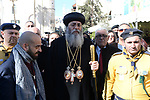 Jerusalem Coptic Orthodox Church Bishop Anba Antonius attends the Christmas mass celebrations at the Church of the Nativity, in the West Bank town of Bethlehem, 06 January 2019. The Church of the Nativity, built on the site where Jesus Christ is believed to have been born in the West Bank city of Bethlehem, is administered jointly by Greek Orthodox, Roman Catholic, Armenian Apostolic, and Syriac Orthodox church. Orthodox believers celebrate Christmas Day on 07 January, according to the Julian calendar. Photo by Ahmad Arouri