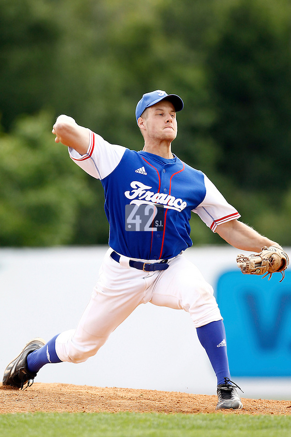 25 June 2011: Gregory Cros of Team France pitches against Czech Republic during Czech Republic 11-1 win over France, at the 2011 Prague Baseball Week, in Prague, Czech Republic.