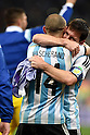 Lionel Messi (ARG),<br /> JULY 9, 2014 - Football / Soccer :  Lionel Messi (L) and Javier Mascherano of Argentina celebrate after winning the FIFA World Cup 2014 semi-finals match between Netherlands and Argentina at Arena de Sao Paulo in Sao Paulo Brazil.<br /> (Photo by FAR EAST PRESS/AFLO)