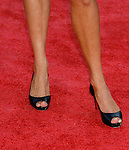 "Actress Vanessa Angel 's shoes at the Los Angeles Premiere Of ""Tropic Thunder"" at the Mann's Village Theater on August 11, 2008 in Los Angeles, California."