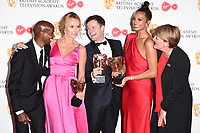 Sir Mo Farah, Amanda Holden, Declan Donnelley, Alesha Dixon and Claire Balding in the winners room for the BAFTA TV Awards 2018 at the Royal Festival Hall, London, UK. <br /> 13 May  2018<br /> Picture: Steve Vas/Featureflash/SilverHub 0208 004 5359 sales@silverhubmedia.com