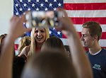 Ivanka Trump poses with Senator Dean  Heller campaign volunteers at the RNC field office in Reno, Thursday, Nov. 1, 2018.