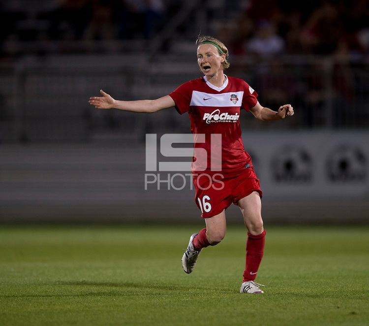 Conny Pohlers (16) of the Washington Spirit calls for her team to move forward at the Maryland SoccerPlex in Boyds, MD. The Washington Spirit tied FC Kansas City, 1-1.