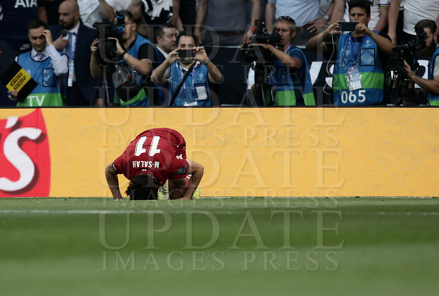 Liverpool's Mohamed Salah celebrates after scoring during the UEFA Champions League final football match between Tottenham Hotspur and Liverpool at Madrid's Wanda Metropolitano Stadium, Spain, June 1, 2019. Liverpool won 2-0.<br /> UPDATE IMAGES PRESS/Isabella Bonotto