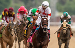 LOUISVILLE, KENTUCKY - MAY 04: Ricardo Santana Jr. celebrates aboard Mitole as he wins the Churchill Downs Stakes at Churchill Downs in Louisville, Kentucky on May 04, 2019. Evers/Eclipse Sportswire/CSM