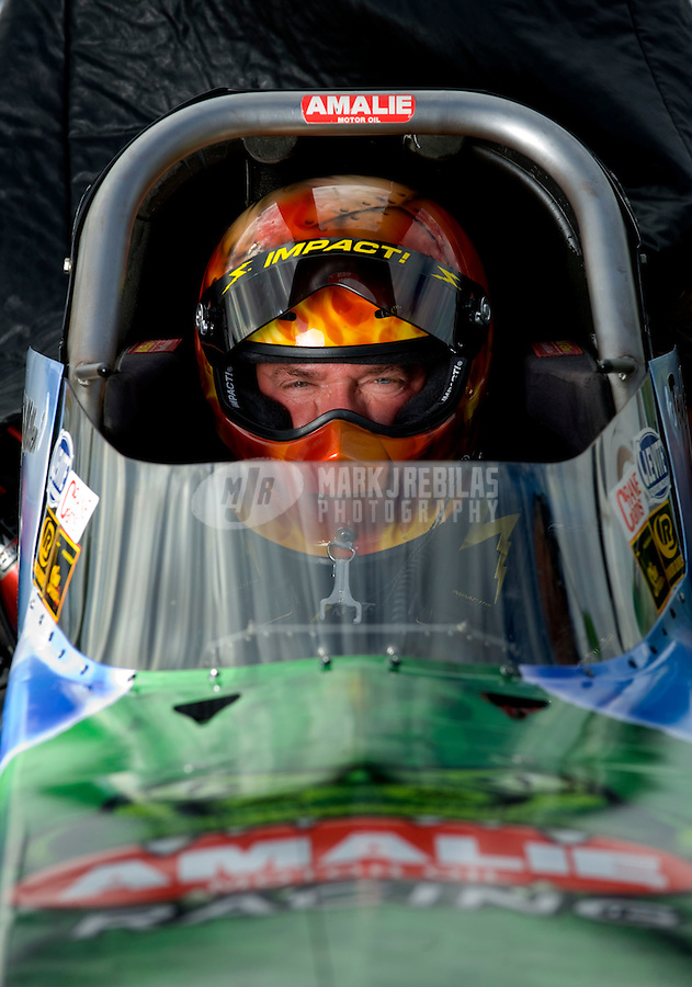 Oct. 31, 2008; Las Vegas, NV, USA: NHRA top fuel dragster driver Terry McMillen during qualifying for the Las Vegas Nationals at The Strip in Las Vegas. Mandatory Credit: Mark J. Rebilas-