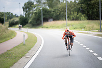 race leader Jan-Willem Van Schip (NED/Roompot-Charles) & his (famously) awkward tiny handlebars...<br /> <br /> Dwars door het Hageland 2019 (1.1)<br /> 1 day race from Aarschot to Diest (BEL/204km)<br /> <br /> ©kramon