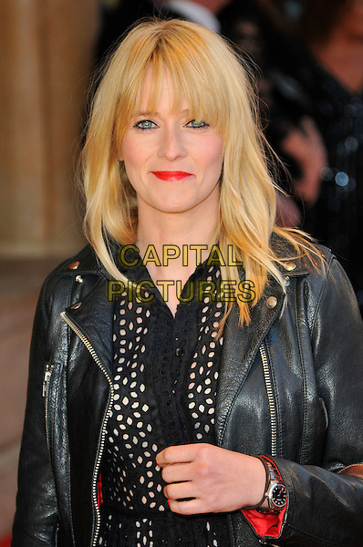 "EDITH BOWMAN .Attending the UK Film premiere of ""Attack The Block"", Vue West End, Leicester Square, London, England, UK, May 4th 2011..half length black leather jacket  shirt dress hand red lipstick fringe eyeliner make-up  .CAP/CAS.©Bob Cass/Capital Pictures."