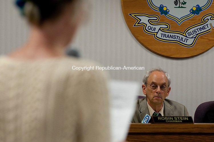 NEW BRITAIN, CT-22 JULY 2012--072212JS12-Connecticut Siting Council Chairman Robin Stein looks on as a resident speaks during hearing regarding the adoption of wind turbine regulations Tuesday in New Britain.  Residents from Colebrook and Plymouth were on hand for the hearing. .Jim Shannon Republican-American